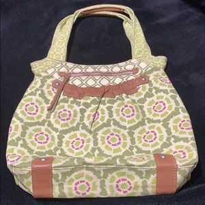 Fossil Floral Canvas and Leather Bag
